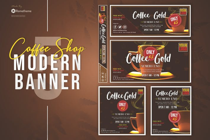 Thumbnail for Coffee Shop Banner Pack Template