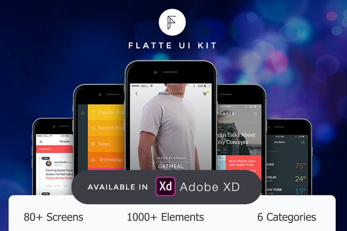 Thumbnail for Flatte UI Kit - 80++ for XD