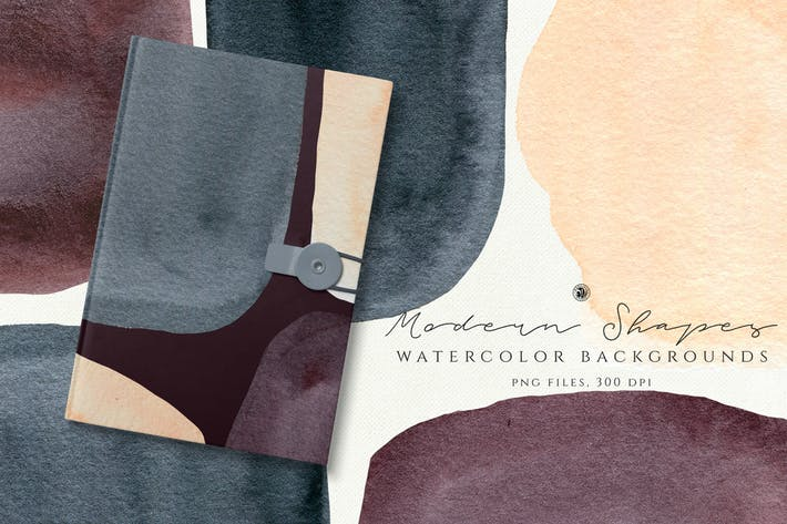 Thumbnail for Watercolor Backgrounds Modern Shapes