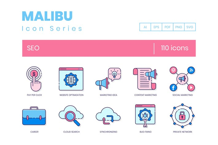Thumbnail for 110 SEO Icons - Malibu Series
