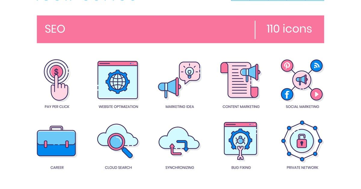 Download 110 SEO Icons - Malibu Series by Krafted