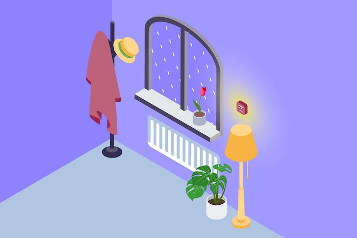 Thumbnail for Smarthome Air Conditioning Isometric Illustration