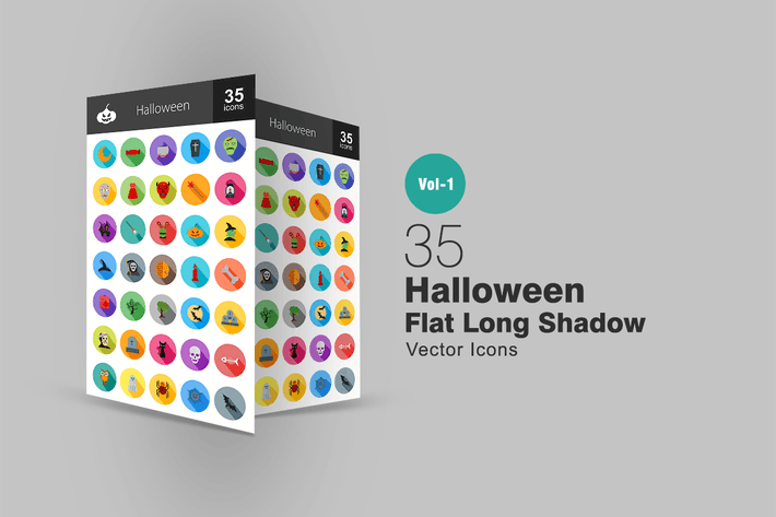 Thumbnail for 35 Halloween Flat Long Shadow Icons