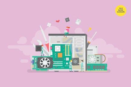 PC Maintenance Vector Concept Illustration