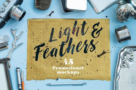 """Light & Feathers"" - Promotional Mockups"