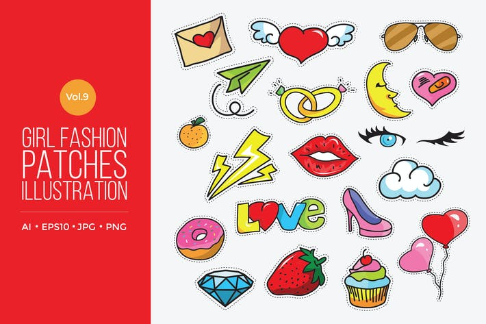 Cover Image For Girl Power Fashion Vector Patches Vol.9