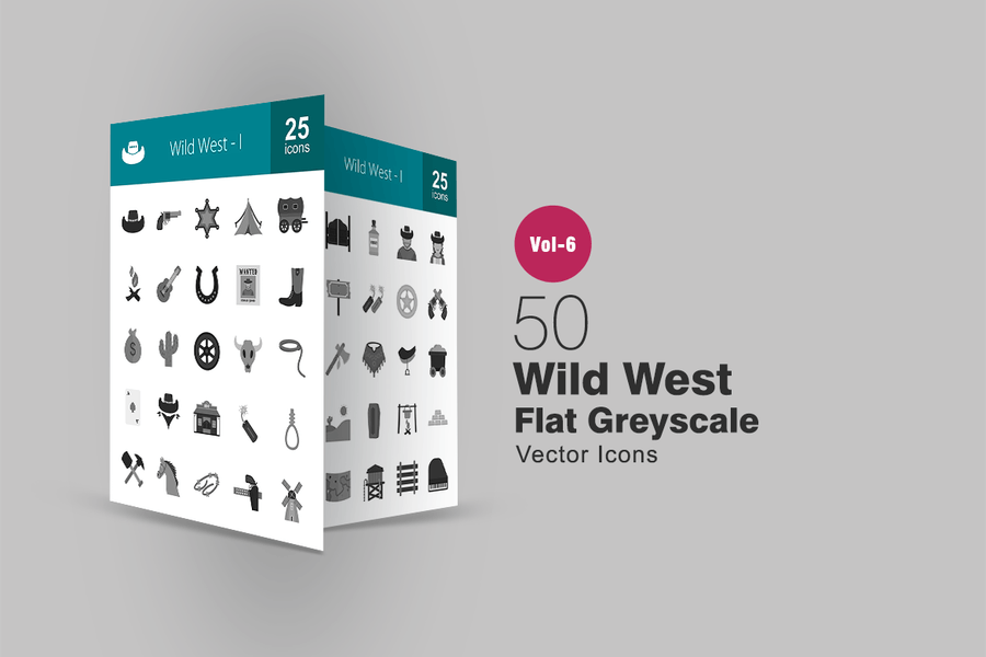 50 Wild West Flat Greyscale Icons