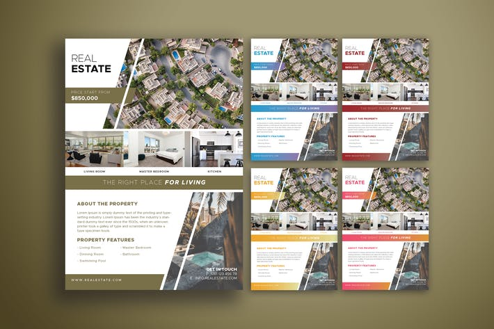 Thumbnail for Real Estate Flyer V.1 - Five Color Variations