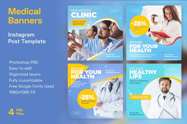 Thumbnail for Medical Instagram Banner Templates | Health