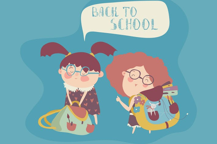 Thumbnail for Little girls with school backpack. Vector