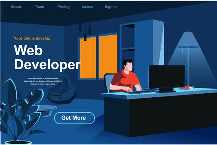 Concepto plano de página web isométrica de desarrollo web
