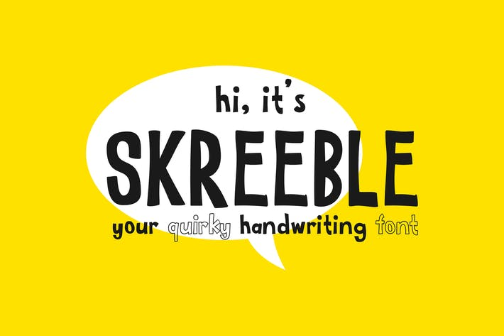 Thumbnail for Skreeble - A Fun Sans Serif Font With Quirky Shape