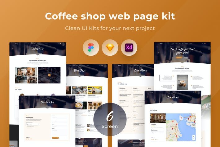 Thumbnail for Coffee shop web page kit