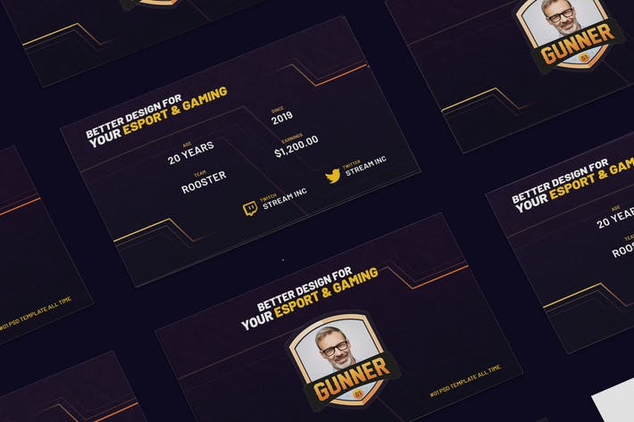 Cover Image For eSports & Gaming Business Card PSD Template