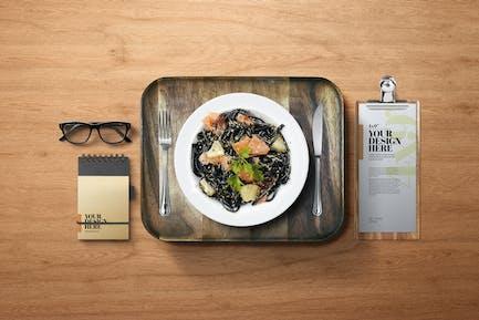"Assiette à dîner Mockup Food Pasta 4x9"" Presse-papiers Menu"