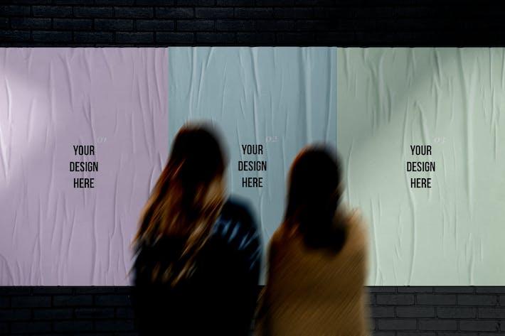 Geklebte Street Plakate Mockup