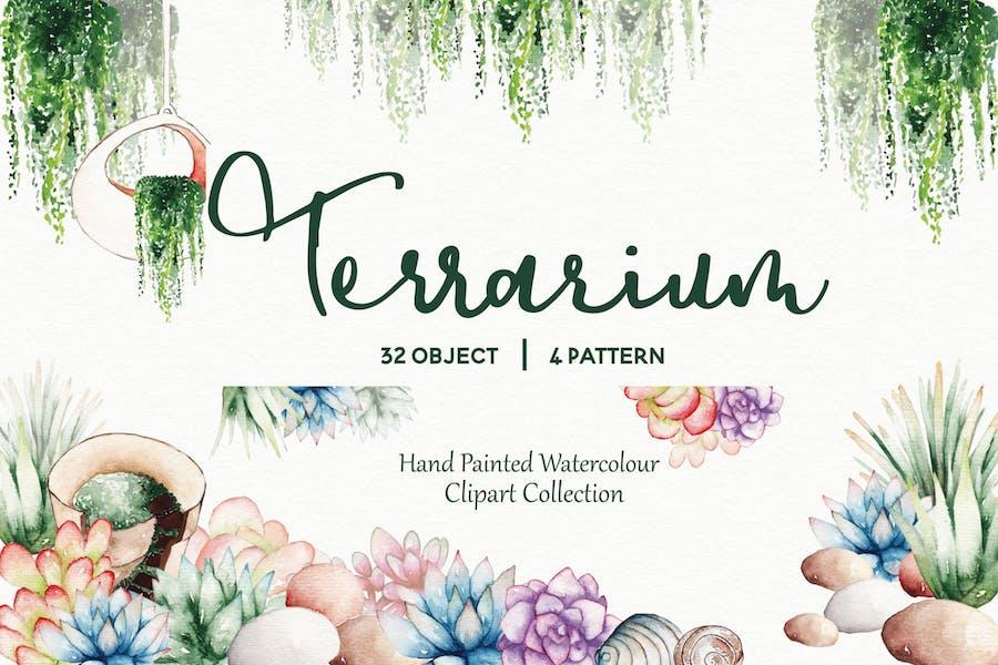 Succulent Terrarium Watercolor