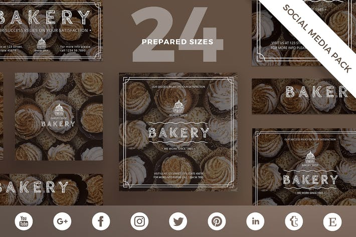 Thumbnail for Bakery Shop Social Media Pack Template