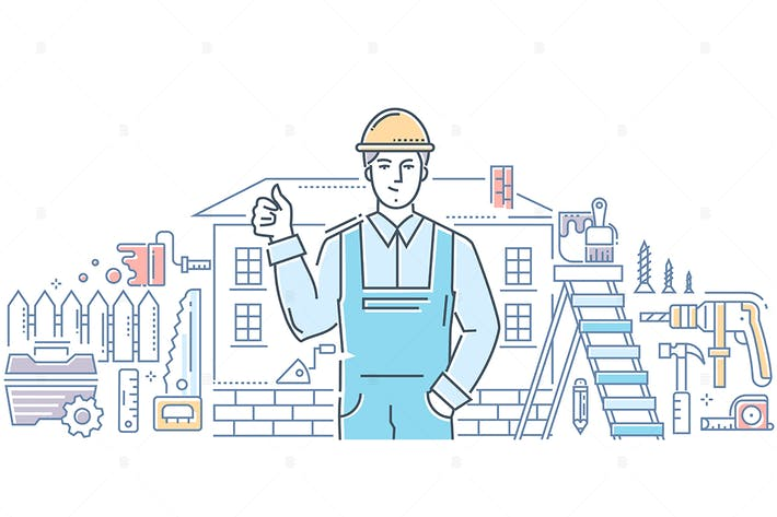 Thumbnail for General worker - line design style illustration