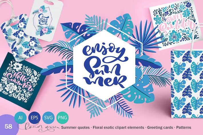 Cover Image For Summer Exotic Palm Design Elements SVG