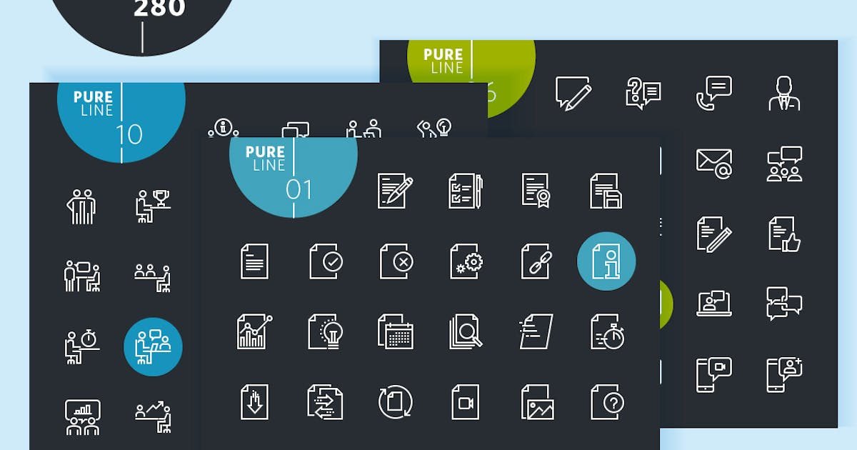 Download Set of  Thin Line Icons by PureSolution