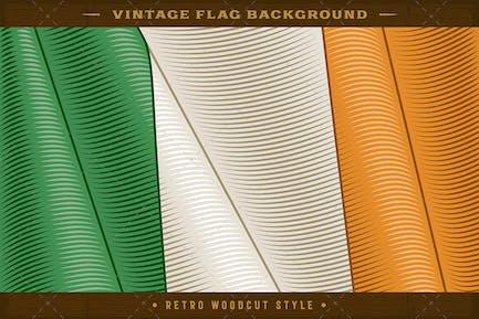 Vintage Flag Of Ireland. Close-up Background