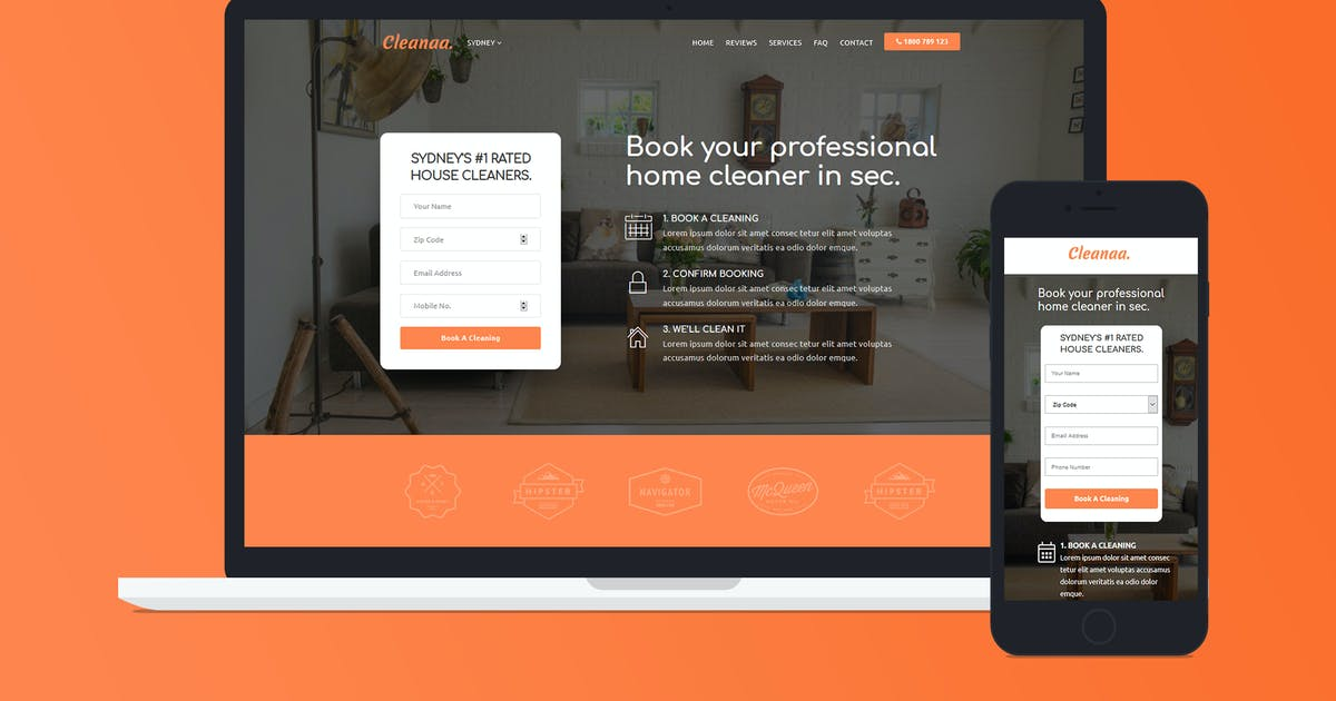Cleanaa — Cleaning Services Landing Page Template by Divine-Store