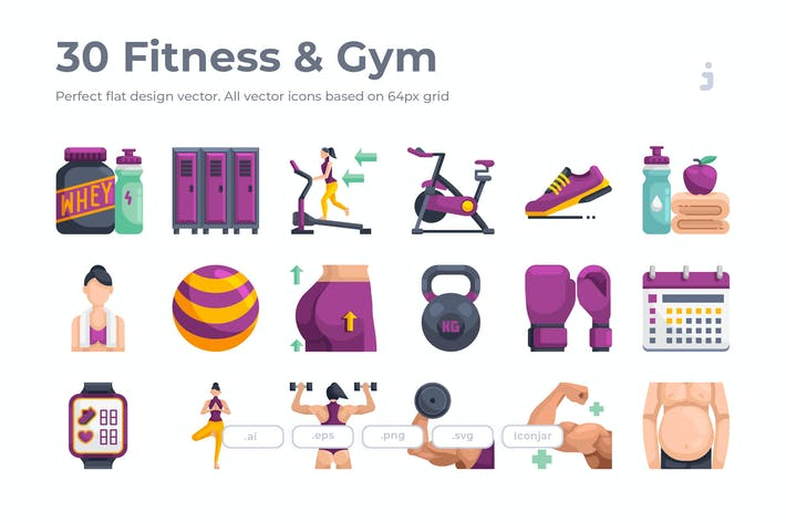 Thumbnail for 30 Fitness & Gym Icons - Flat