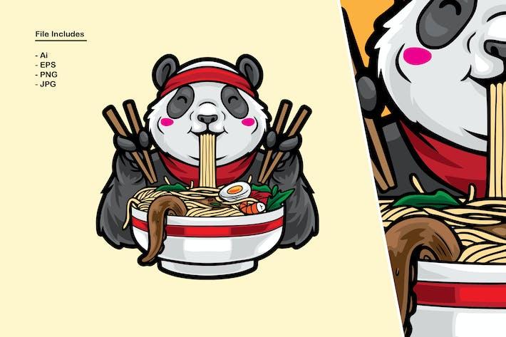 Panda isst Nudeln Illustration
