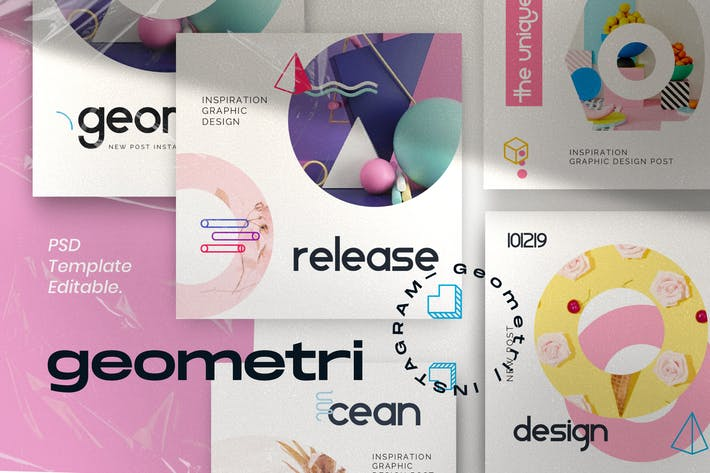 Thumbnail for Geometri - Pack 1 Social Media Kit Beitrag+Stories