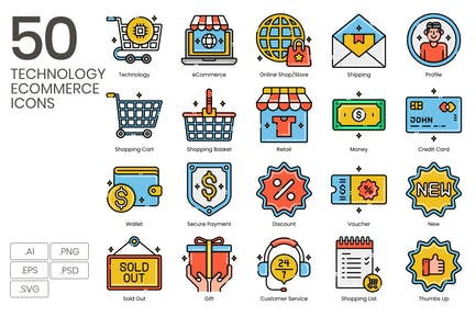 50 Technology eCommerce Icons - Aesthetics Series