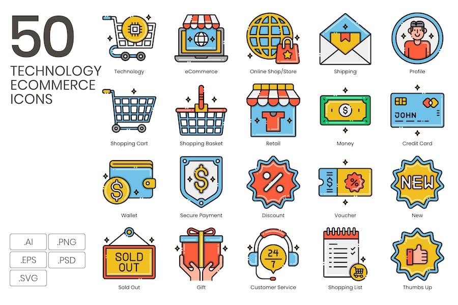 50 Technologie E-Commerce-Icons - Ästhetik-Serie