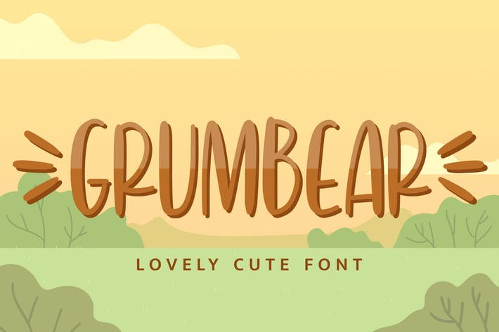 Thumbnail for Grumbear - Lovely Cute Font