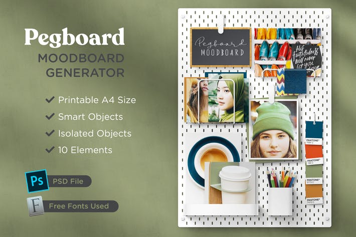 Thumbnail for Print-Ready A4 Pegboard  Moodboard Scene Creator