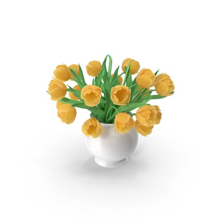 Yellow Tulips Bouquet In The Vase