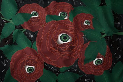 Illustration - Creepy Red Rose Eye