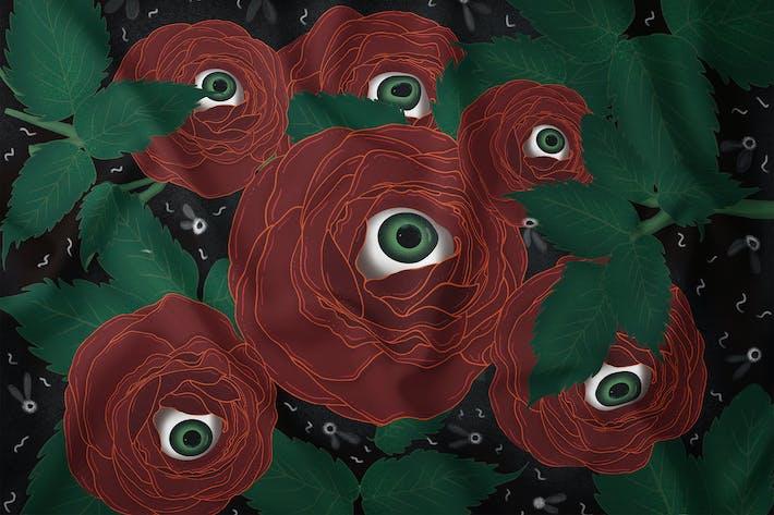Thumbnail for Illustration - Creepy Red Rose Eye
