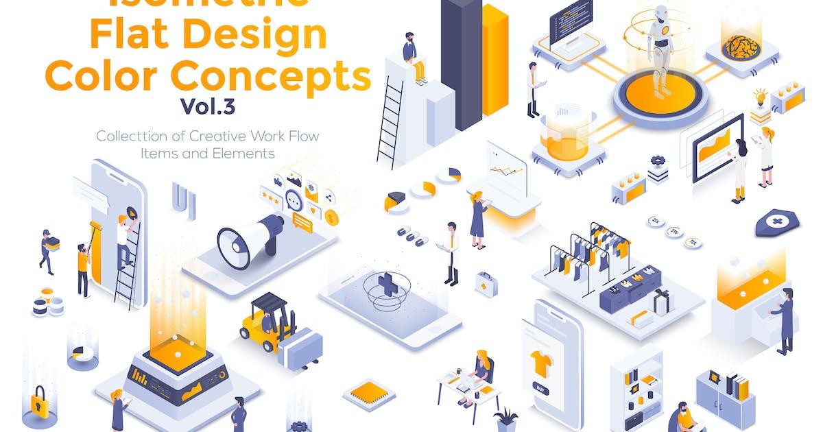Download Modern flat design isometric illustrations by graphics4u