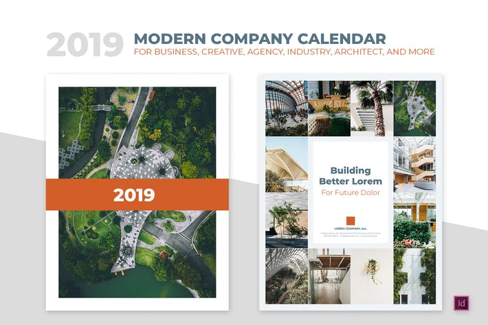 Thumbnail for 2019 Minimal Calendar For Company, Agency, Busines
