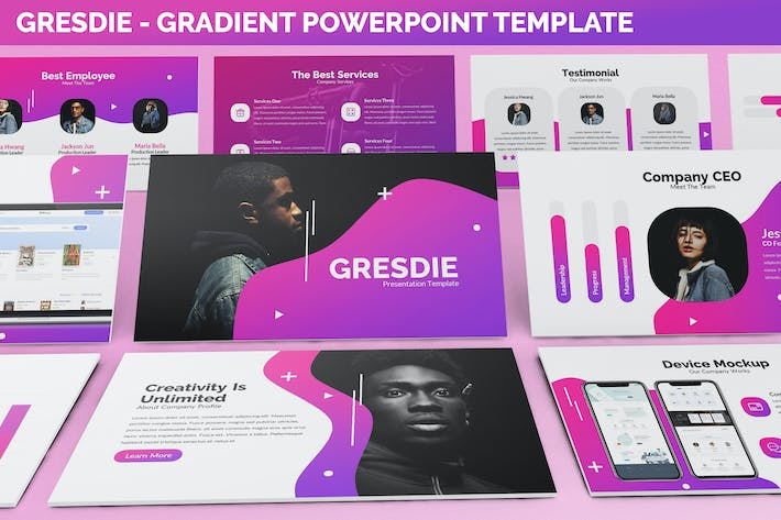 Thumbnail for Gresdie - Gradient Abstract Powerpoint Template