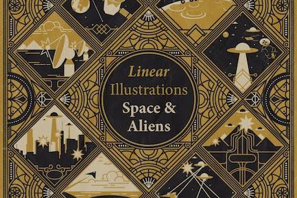 Ilustraciones Lineales - Espacio y Alien