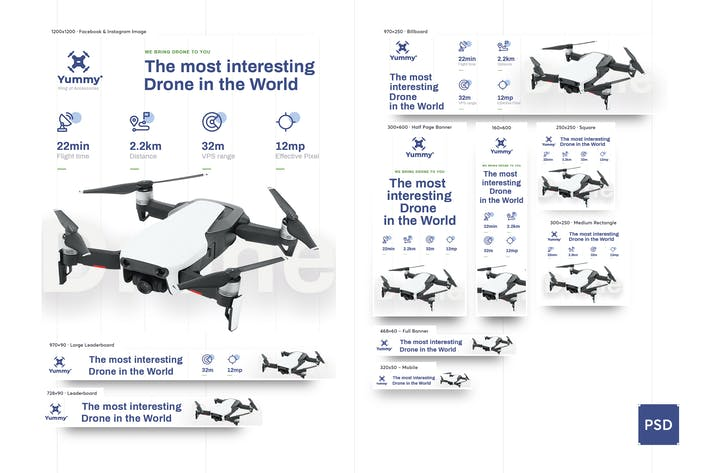 Thumbnail for Drone Banners Ad PSD Template