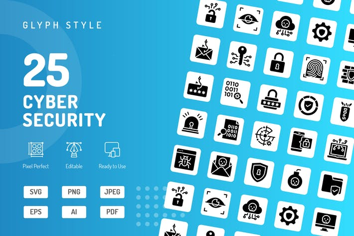 Thumbnail for Cyber Security Glyph Icons
