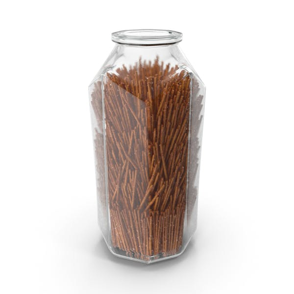 Octagon Jar with Long Salty Pretzel Sticks