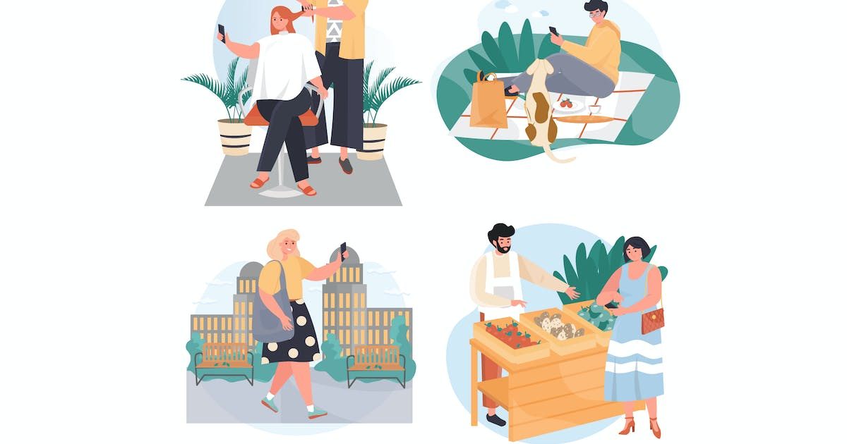 Download People Use Smartphones Concept Scenes Set by DesignSells