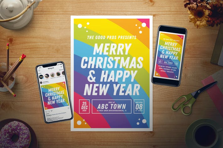 Thumbnail for Rainbow New Year Flyer Set