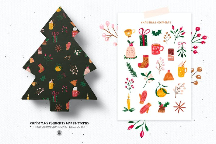 Christmas pencils elements and patterns