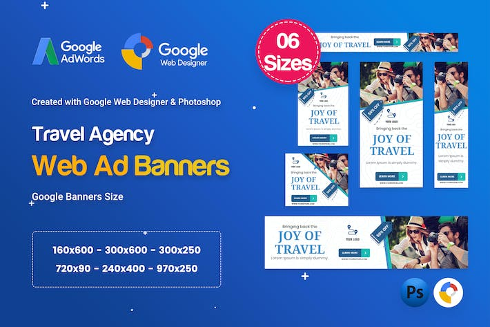 Thumbnail for Travel Agency Banners HTML5 D55 Ad - GWD & PSD