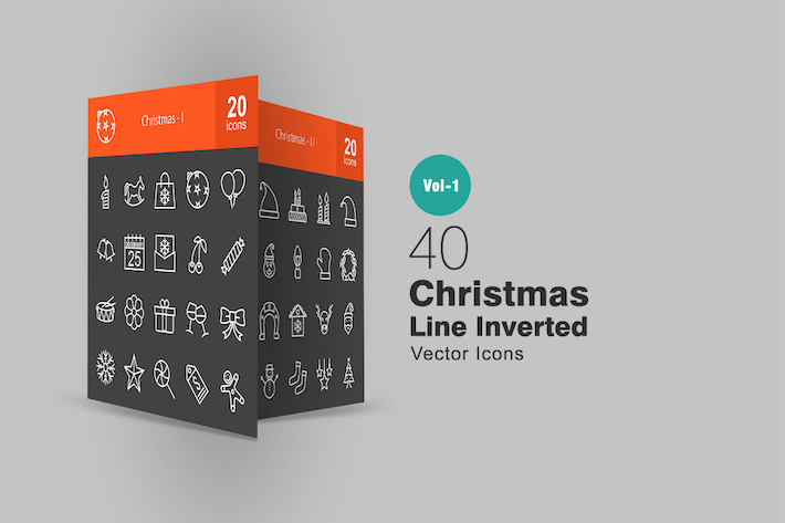 Thumbnail for 40 Christmas Line Inverted Icons