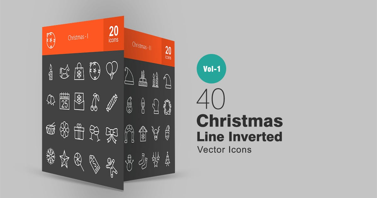 Download 40 Christmas Line Inverted Icons by Unknow